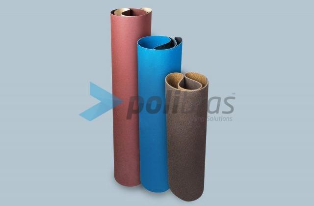 Bandas Largas de Lixa com suporte de papel ou tela, ou de Surface Conditioning, com largura entre os 600 mm e os 1400 mm.