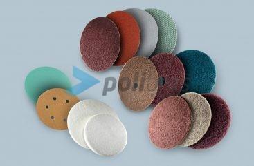 Discos de Fixação Rápida, de Lixa com diversos materiais e suportes, ou de Malha Abrasiva e Surface Conditioning com diversos materiais abrasivos e grãos.