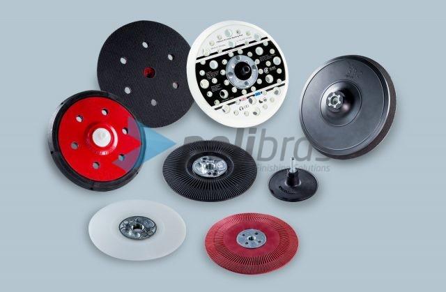 Suportes para Discos e Folhas de fixação rápida, de fibra e de surface conditioning. Diversas possibilidades, de acordo com as máquinas e discos utilizados.
