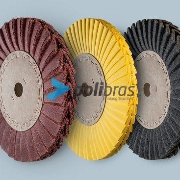 Discos em V de Tela e Malha Abrasiva - Polimento e Abrasivos, Polibras. Em tela ou malha abrasiva, permite furos com diversos tamanhos e formas.