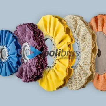 Discos Ventilados Polibras em tela, sisal ou sisal/tela, com grapa ou argola metálica, centro em ou em cartão - permite vários furos.