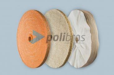 Discos de Folhas Costuradas ou Soltas da categoria de Polimentos, dos produtos Polibras. Em tela, sisal ou sisal/tela. As melhores soluções de acabamento.
